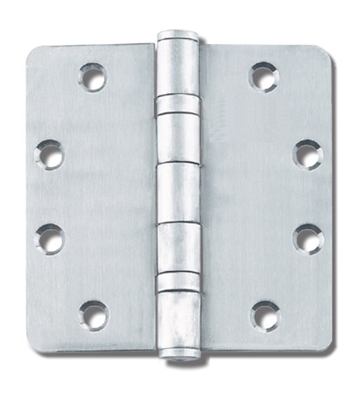 "Cal-Royal Bb-Rc-45: 4"" X 4"" Full Mortise, Standard Weight, Two Ball Bearing 1/4"" Radius Hinge - Us26D Satin Chrome Finish (Pack Of 3), (Lifetime Warranty)"